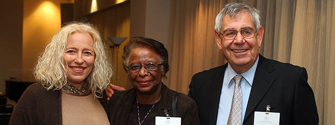 Pictured are Mina Teicher, Director of Emmy Noether Research Institute for Mathematics at Bar-Ilan University and BSF Board member, Cora Marrett, Acting Director of the NSF and Yair Rotstein, Executive Director of BSF
