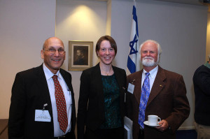 Janet Macdonald (center) received the Bergmann Award in Washington DC.  Also pictured are U.S.-Israel Binational Science Foundation (BSF) board members Dr. Shlomo Wald (left) and Dr. Michael Crosby (right)
