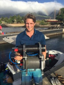 Former BSF Rahamimoff Travel Grant recipient Andrew Mullen with the revolutionary new underwater microscope, the result of extensive research at Interuniversity Institute for Marine Sciences in Eilat.